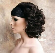 Dark Brown 3/4 Fall Hairpiece Classic Short Curly Half Wig Cap Hair Piece #4