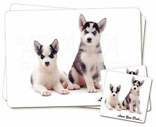 Husky Pups 'Love You Dad' Twin 2x Placemats+2x Coasters Set in Gift Bo, DAD-54PC