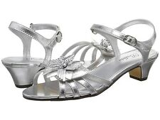 Girls Silver Strap Sandals with 1 1/4 inch heels  Marlene  YOUTH Girls Size 5