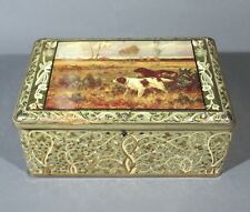 Vintage French Tin Box, Hunting Scene with Spaniels, Dog, Autumn Landscape