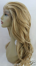 New Premium Quality Straight Mix Dark Blond Synthetic LAYERED Lace Front Wig 23""