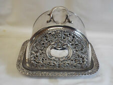 More details for unusual antique silver plated cheese dish with reticulated sides.