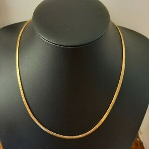 MONET Signed Flat Snake Chain Necklace 80s 90s Costume Jewellery Gold Tone