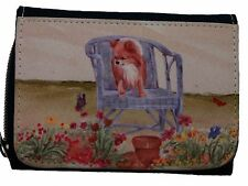 CHIHUAHUA DOG long haired DENIM BLUE PURSE WALLET SANDRA COEN ARTIST PRINT