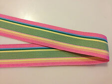 Preppy Acetate Grosgrain Ribbon One (1) Inch Stripe Pink Yellow Green By the YRD