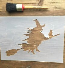 Witch and Cat Stencil, Halloween Witch Stencil, Halloween Stencil, Scary Stencil