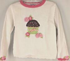 Girl's Sweater HARTSTRINGS WHITE Cupcake PINK Apple Green Brown Birthday Sweet 4