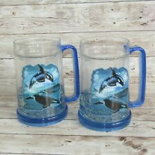 More details for  sea world frosty crystal diamond mugs x 2 theme park drink cup orca shamu whale