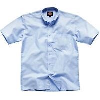 MENS DICKIES OXFORD WEAVE SHORT SLEEVE WORK SHIRT BUTTON FRONT BLUE SH64250