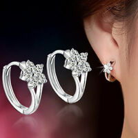 Mujer Moda Pendientes Aretes De 925 Plata Cristal Flor Earrings Regalo