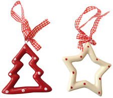 Ceramic Red & White polka dot Christmas tree ornament - two pack