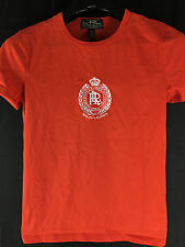 WOMENS L-RL LAUREN ACTIVE RALPH LAUREN ORANGE EMBROIDERED T-SHIRT MEDIUM
