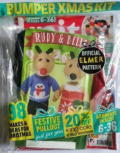 Knit Now! Magazine #107 Rudy & Belle Bumper Xmas Kit, Elmer Knitting Patterns