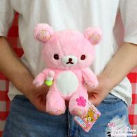 """NEW SAN-X Relax Brown Bear Rilakkuma 8"""" Soft Plush Figure Doll Toy Pink"""