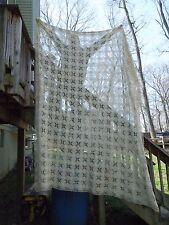 "Vintage Cream Tone Crocheted Bedspread Tablecloth 80""x 100"""