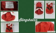 "*Target*Dog/Puppy ""M"" Red/Wht Velour Fleece Scratch Tape Lined Hood Santa Outfit"