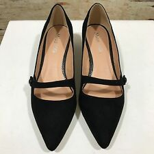 MISS KG Black Low Heel Pointed Faux Suede Shoes Smart SIZE UK 5 38 12366