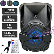 8'' Portable FM Bluetooth Speaker 1000W Subwoofer Heavy Bass Sound System Party