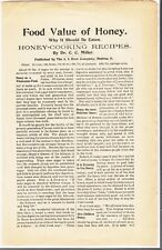 """[54898] """"FOOD VALUE OF HONEY"""" by DR. C.C. MILLER ARTICLE (A.I. ROOT COMPANY)"""