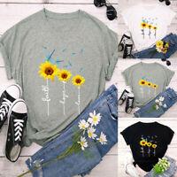Womens Cotton Sunflower Print Short Sleeve Round Neck T-shirt Top Summer Tees