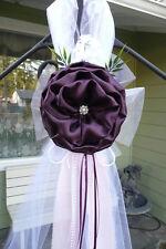 Set of 6 Plum Pew Bows Chair Bows Aisle, wedding decor, Table, White Dark purple