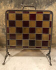 Antique Arts Crafts Copper & Stained Glass Fireplace Fire Screen