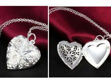 Long Heart Pendant Necklace Small Photo Locket Silver Sterling Love Thin Chain