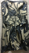 Jessica Simpson Womens Size 10 Floral Strapless Cocktail Dress Lined Gray Biege