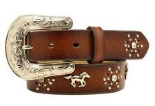 Ariat Western Girls Kids Belt Horse Rhinestones Flower Studs Brown A1305202