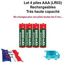 Piles batteries AAA ( LR03) 1.5V Rechargeables Haute capacité 8800 mAh. Lot de 4