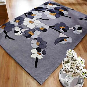 Modern Infinite Blossom Hand Carved Floral Design Grey / Ochre Floor Rug-4 Sizes