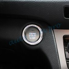 Auto Engine Start Push Buttons Cover Ignition Ring Trim Interior Parts Silver