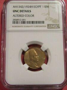 Egypt AH1342/1924H 1/2 Millieme NGC unc Details Coin Fuad I