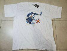 Vintage 100% Cotton Blue Dragon Print Shirt Mens XL Anime Oriental Art