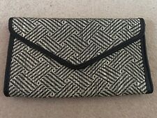 Primark Black & White Raffia Clutch Bag