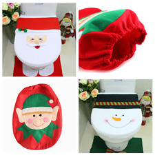 Elk Mat Bathroom Decor Santa Snowman Christmas Toilet Seat Lid Cover Stylish PF