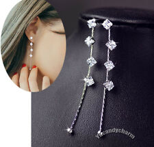 Face Slimming Made in Korea Princess Cut Gem Chain Long Sterling Silver Earrings