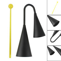 Metal Two Tone Cowbell with Plastic Striker Percussion Instrument  Black  yU@ SP