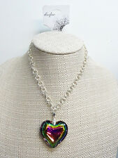 New Colorful Iridescent 3D Puffed Heart Pendant Necklace nwt #N2218