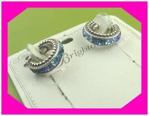 BRIGHTON SPECTRUM BLUE Crystal Silver SMALL Hoop Post EARRINGS Nwotag