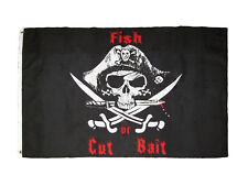 3x5 Jolly Roger Pirate Fish or Cut Bait Black Flag 3'x5' Banner Grommets (FI)