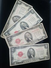 """Four RARE $2 """"1928"""" Two Dollar US Legal Tender Notes OLD Red Seal Bill Currency"""