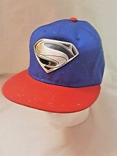 DC Superman Silver w/ Black Logo on Red Trim Snap-back Blue Hat