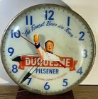 Antique Pam Clock Duquesne Pilsener 'The Finest Beer in Town' Round Wall Clock