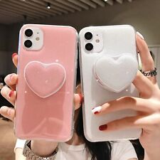 For iPhone 12 11 Pro Max X Rubber TPU Soft Shockproof Bling Kickstand Case Cover
