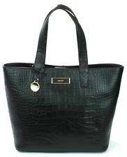 DKNY Donna Karan Black Leather Croc Embossed Shoulder Hand Bag Medium RRP £375