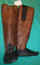 "Black ""Tooled"" & Brown Speckled Cowboy Boots for My Size Barbie Doll MYBT64"