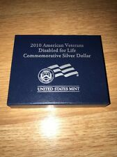 *Empty Box No Coin 2010 American Veterans Disabled For Life Silver Dollar W/ COA