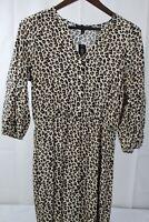 Banana Republic 100% Rayon Leopard Design Fit & Flare Dress - Small