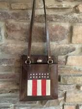 RARE Vintage AMERICAN WEST Leather HANDMADE Studded FLAG Star Tote Purse Bag